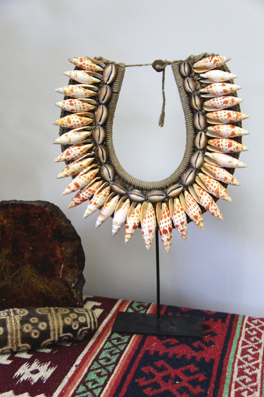 Vivid Orange And Cream Shell Necklace from Papua, New Guinea - ShopWomanShopsWorld.com. Bone Beads, Tassels, Pom Poms, African Beads.