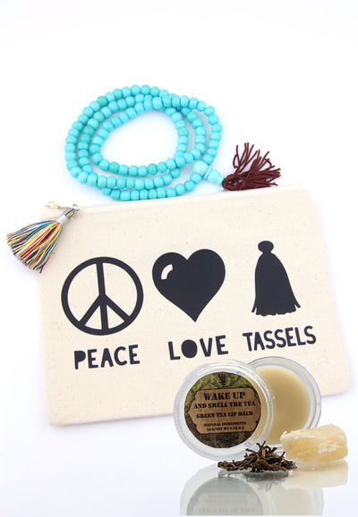 Panache Gift Set: Zippered Pouch, Lip Balm, Mala