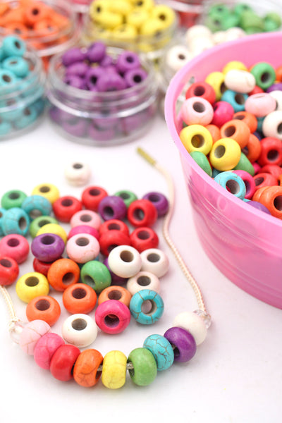 Large Hole Colorful Magnesite Euro Rondelle Beads, 14mm, 5mm Hole