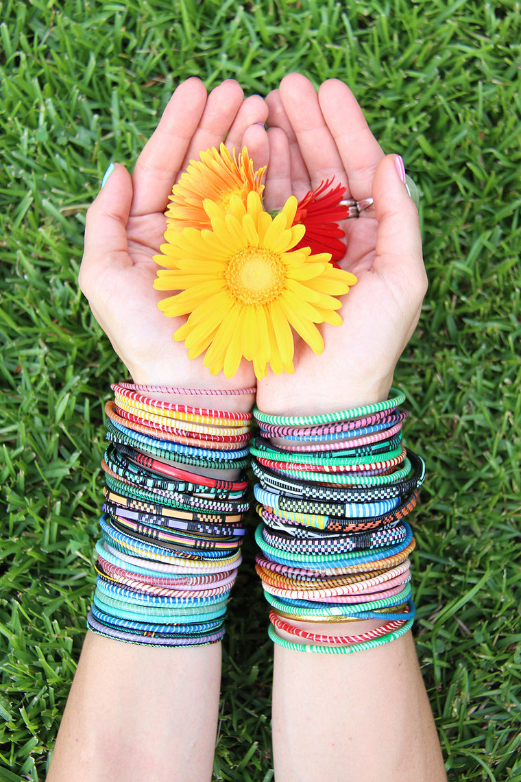 Global Rainbow Arm Party Recycled Bangles from Mali
