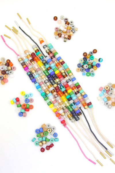 Roller Bead DIY Tie On Bracelet Kit, Rainbow Czech Glass Pony Beads + Lurex Cord