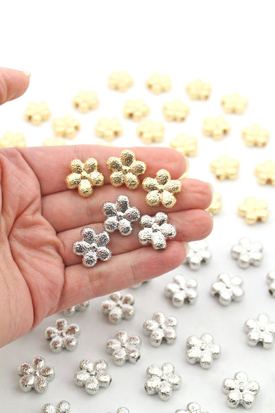 Silver & Gold Plated Stardust Flower Beads, Large Hole Beads