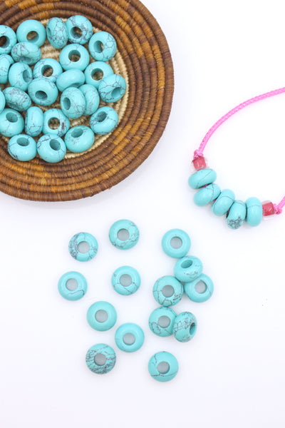 Large Hole Synthetic Turquoise Euro Rondelle Beads, 14mm, 5mm Hole