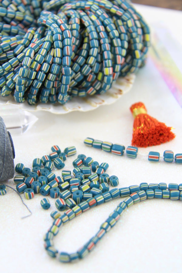 Teal Green Striped Java Glass Barrel Beads, 4mm, 140 pieces