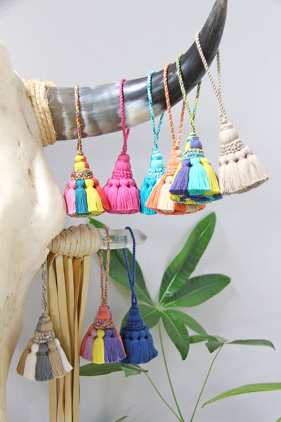 Temple Belle Home Decor Tassels, Purse Charms, Bag Swag, Artisan Made, 7""