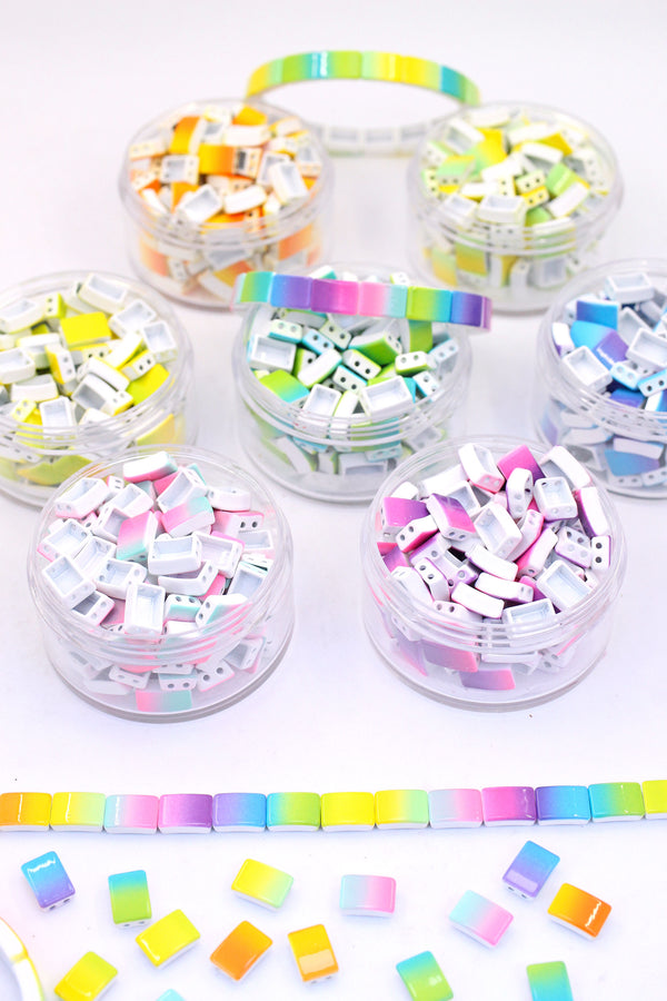 Ombre 2-Color Enamel Tile Beads, Rectangle 2-Hole Beads for Stretch Bracelets