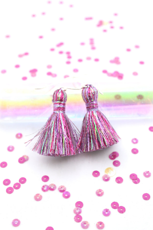 "Colorful Metallic Tassels: 1.25"" Handmade Tassels for Making Earrings/Jewelry"