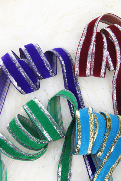 "Silver & Gold Edged Holiday Velvet Skinny Ribbon, Green, Purple, Red, Teal, 1"" x 3 yards"