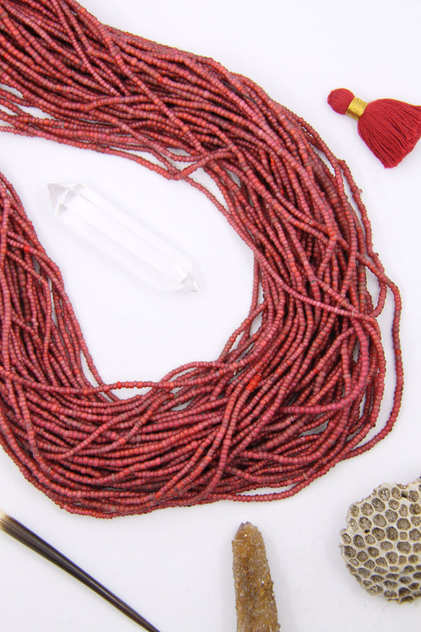 Vintage Ruby White Heart Beads, Antique African Beaded Necklace