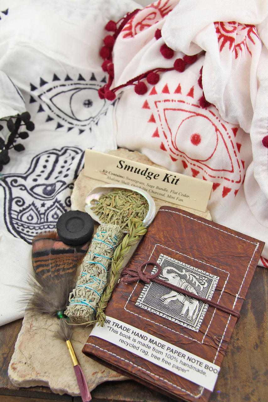 Voyager Gift Set: Good JuJu Scarf, Smudge Kit, Recycled Rag Paper Journal