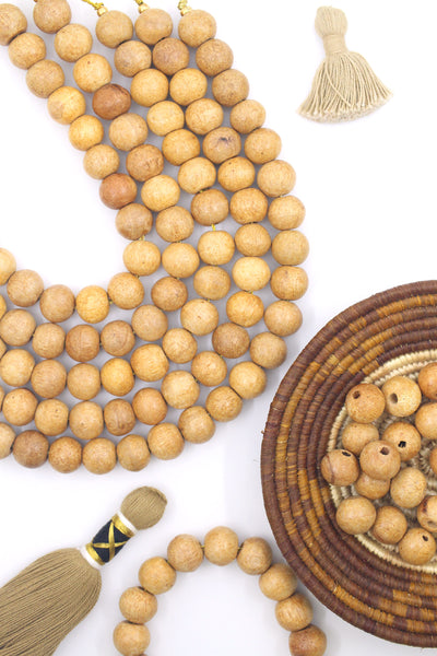 Big Round Wood Beads, 12mm Light Brown Large Hole Beads
