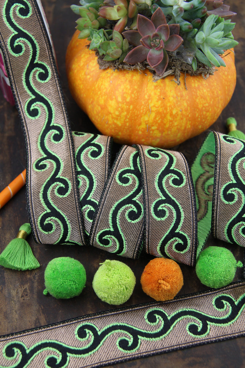 "Glowing Vines Ribbon, Neon Green, Gold, Black, Trim Sari Border from India, 1.25"" x 1 yard"