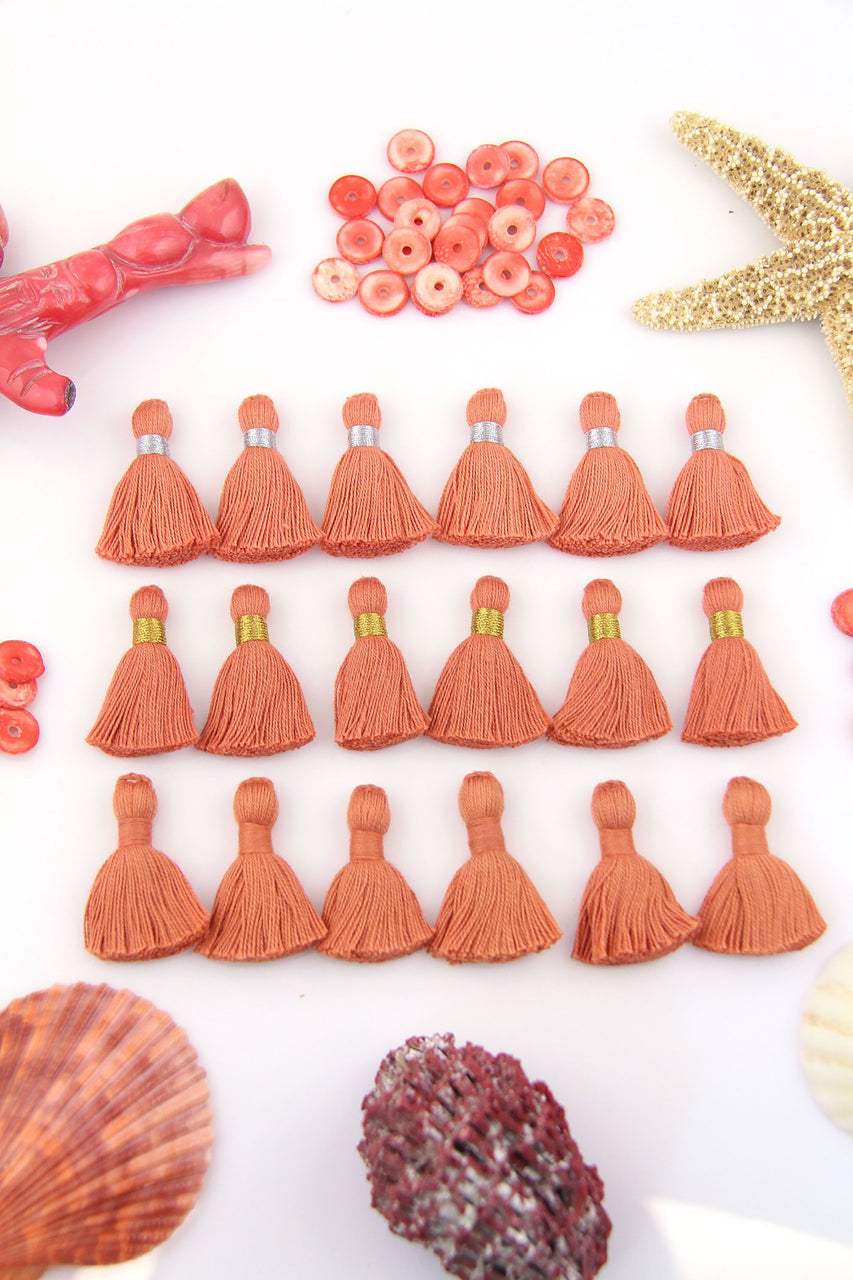 "Living Coral: 6 Mini Tassels, Jewelry Making Supplies, 1.25"" Cotton Fringe"