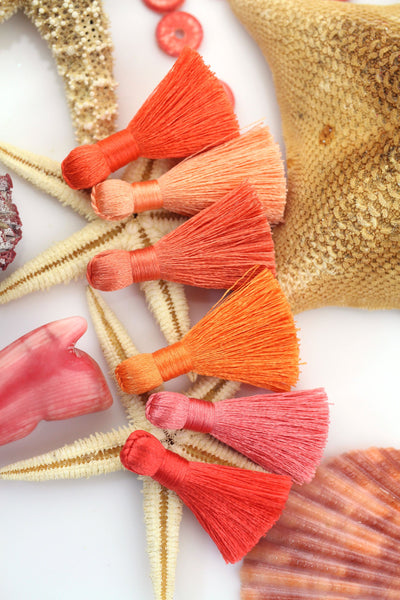 "Living Coral Mix: Mini Silky Jewelry Making Tassels, 1.25"" Fringe, Pantone Jewelry Making Supplies"