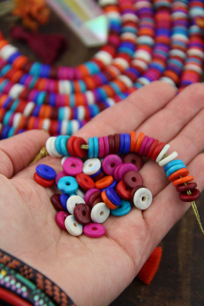 Autumn Aura : Large Hole Multi Mix Bone Heishi Disc Beads,10.5mm