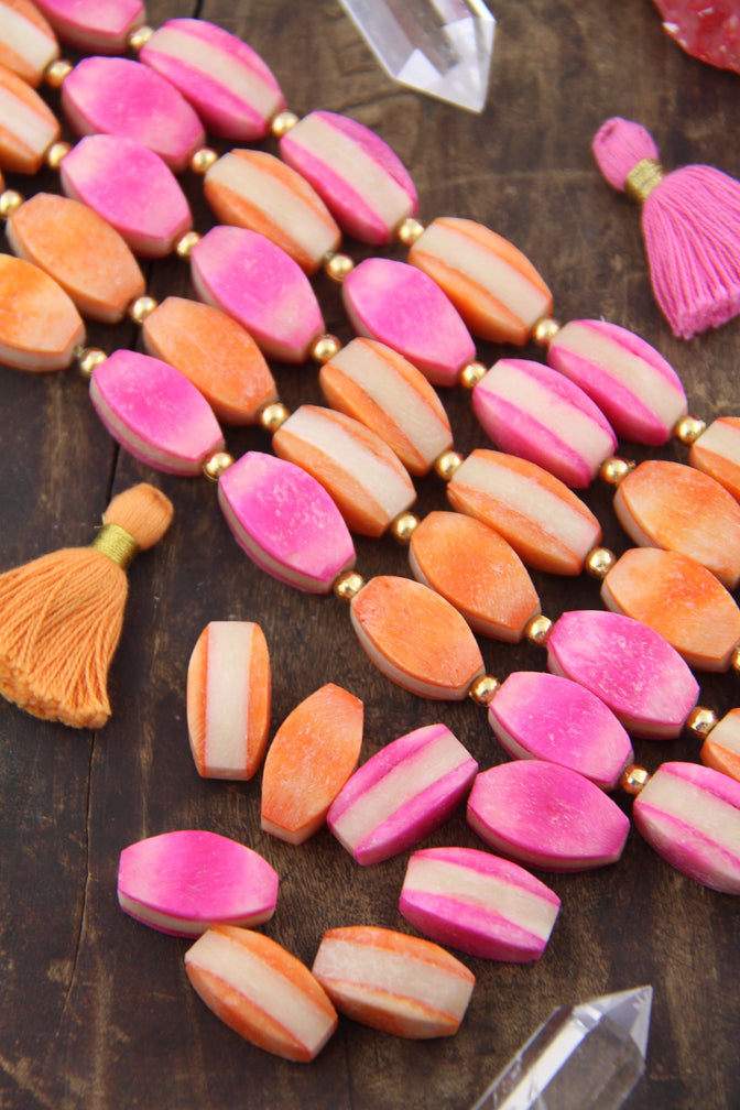 Bone Beads: Bright Pink, Orange, Cream, Layered, 11x21mm