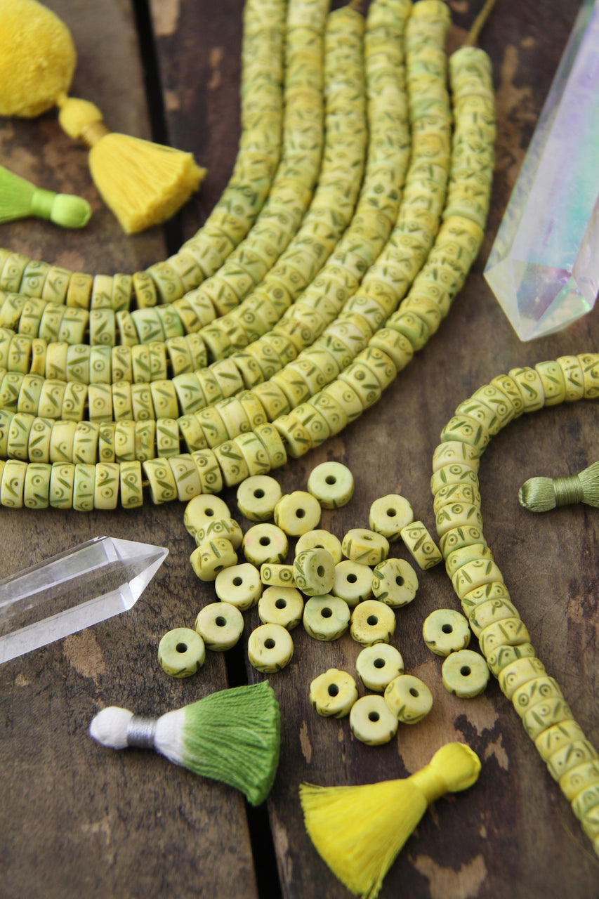 Carved Bone Beads : Yellow Green Tribal Heishi Discs, 10x4mm, 45 pieces