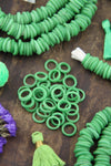 Dutch Donut Beads: Green Large Hole African Glass, 11-12mm, 10 pieces