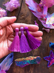 "Ultraviolet Purple Tassel Pack, 2"" Inch Silky Tassels, Pantone Color of the Year, 3 pieces"