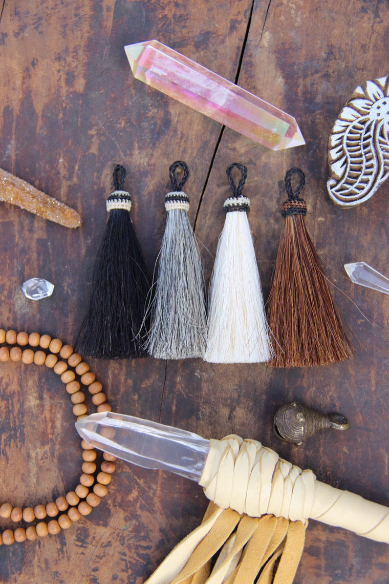 Natural Horse Hair Tassels, Rustic Boho Jewelry Making Supply, 4.5