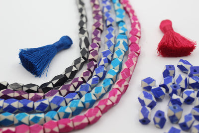 Assorted Colors Geometric Bone Beads, 7x8mm, 5 Color Choices
