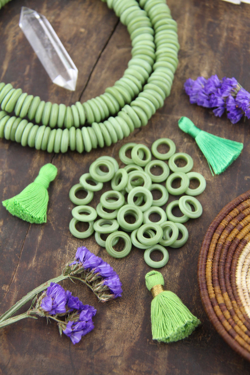 Dutch Donut Beads: Pistachio Green Large Hole African Glass, 11-12mm