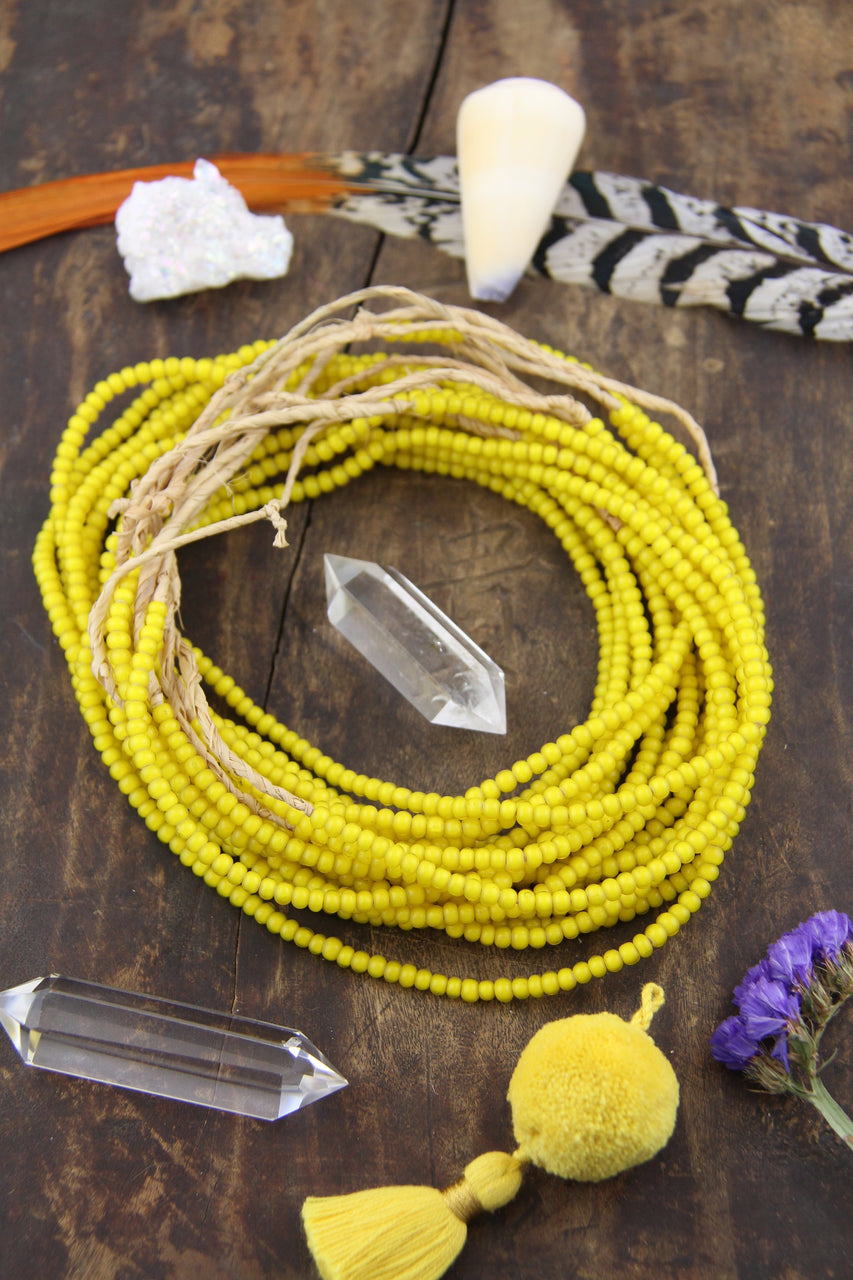 "Mustard Yellow Glass Beads: African White Heart, 4x3mm, 26"" Necklace"