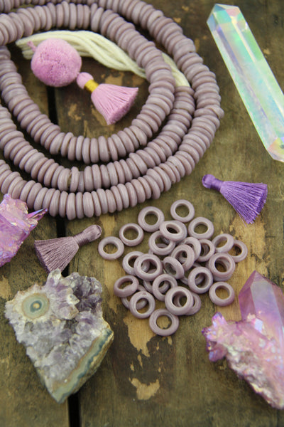 Lilac Purple Dutch Donut Dogan Beads: 13-15mm, 10 Pieces