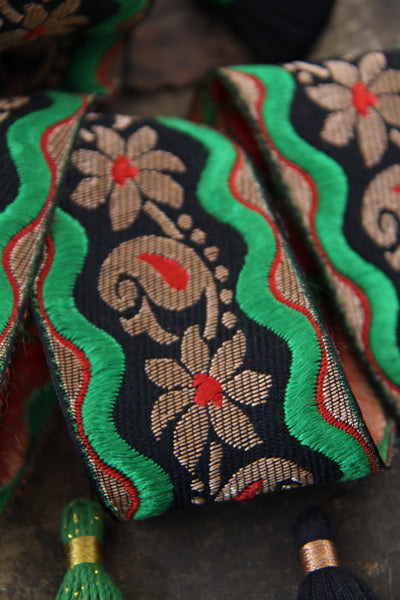 "Gold Paisleys & Flowers: Red, Green, Black Silk Trim, 2"" x 1 yard, Holiday Craft + Sewing Supplies"