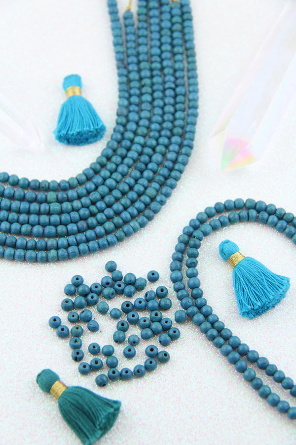 Teal Blue Wood Beads, 5mm, Natural Stained Round Beads, 57+ pieces