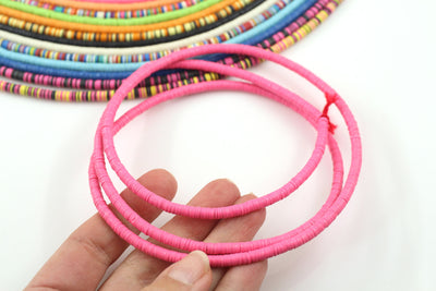 4mm Vinyl Record Beads: Ghanaian Heishi Disc Spacers, Pink Bohemian Necklace from Africa