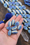 Bone Beads: Royal Blue, Cream, Layered Laminated, 11x21mm, 8+ pieces