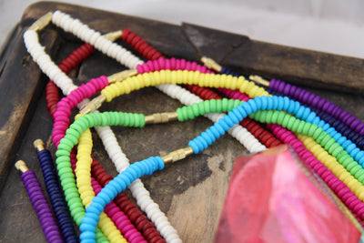 Bone Beads: Choose 8 Colors, Rondelle Bead Necklace, 5x2mm, 240+