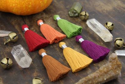 "Fall Favorites Tassel Mix: 2"" Cotton Fringe w/Silver Binding, 6 pieces"