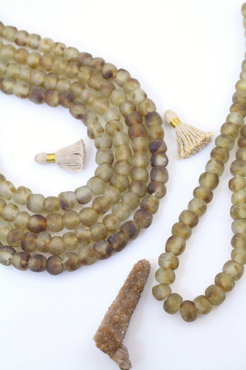12mm Brown Swirl Ghana Krobo Beads, Recycled Jewelry Making Supplies, Boho Tribal Necklace