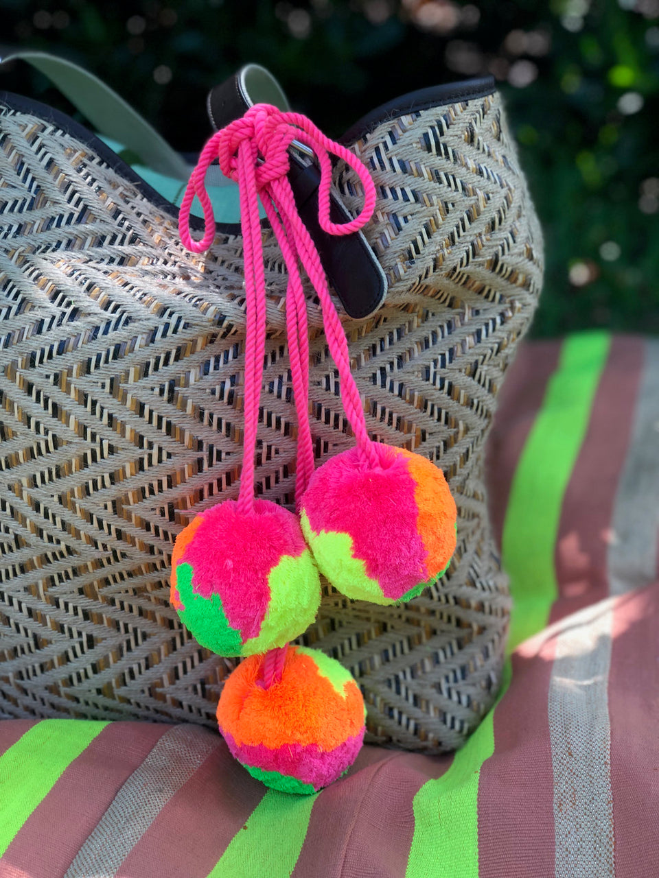 Neon Pom Pom Bag Charm, Large Cotton Bauble, 1 piece