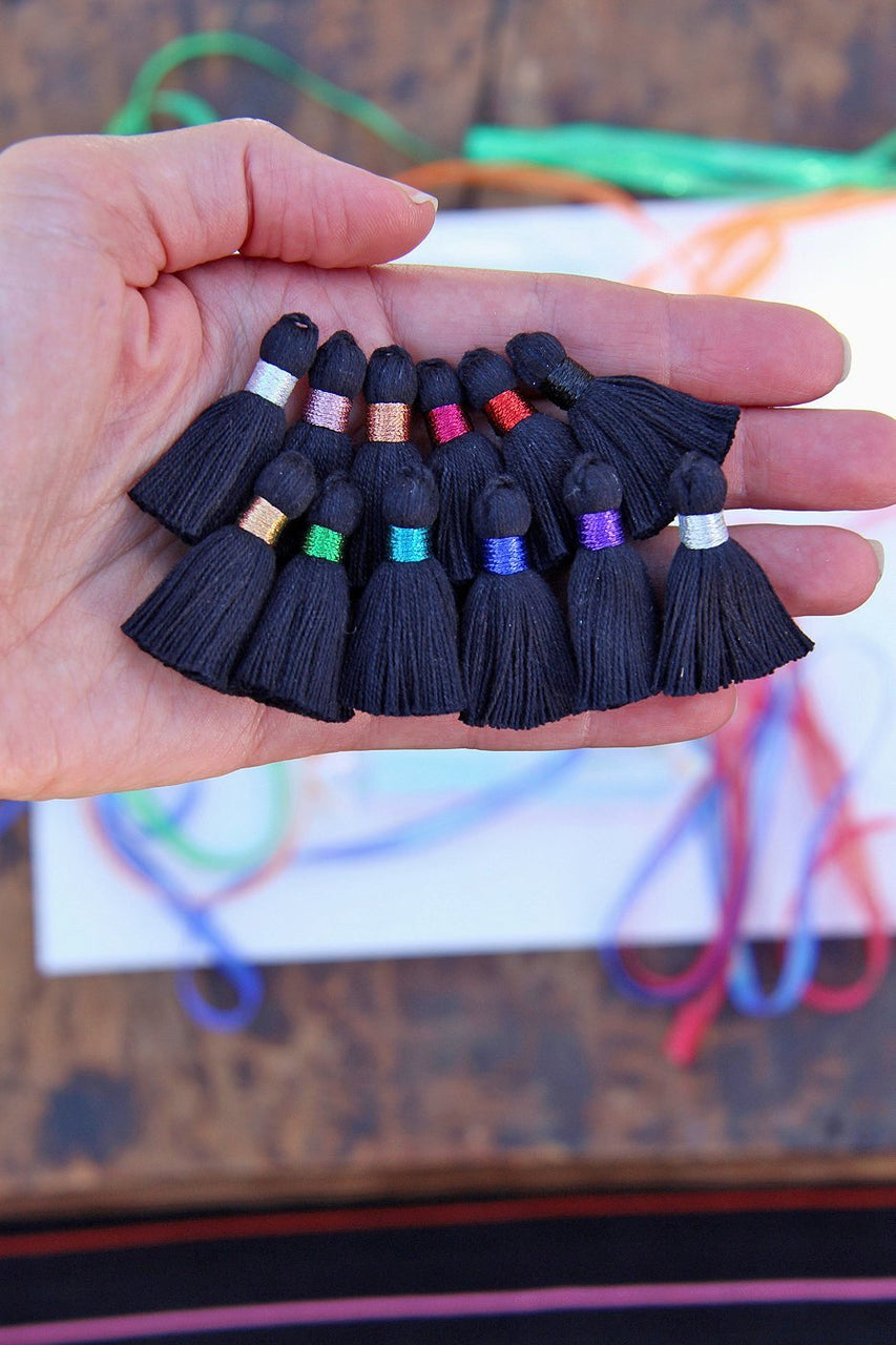 "Mini Black Cotton Tassels, Metallic Binding, 1.25"" DIY Jewelry Making Supplies, Boho Fringe Pendant"