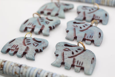 Pastel Blue Focal Pendants: Indian Elephants