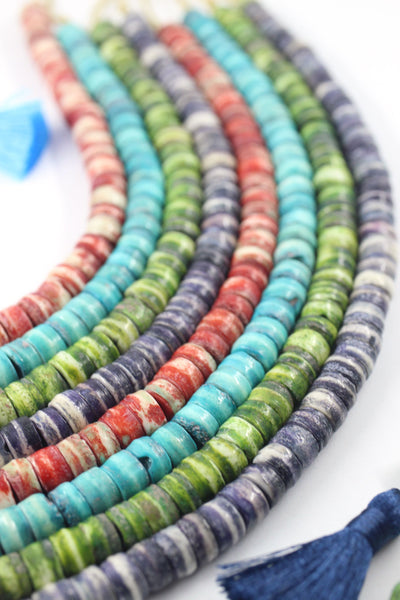 Handcrafted by Artisans, Rondelle Spacer Bone Beads, 8x4mm, Ethically Sourced Spacers from India