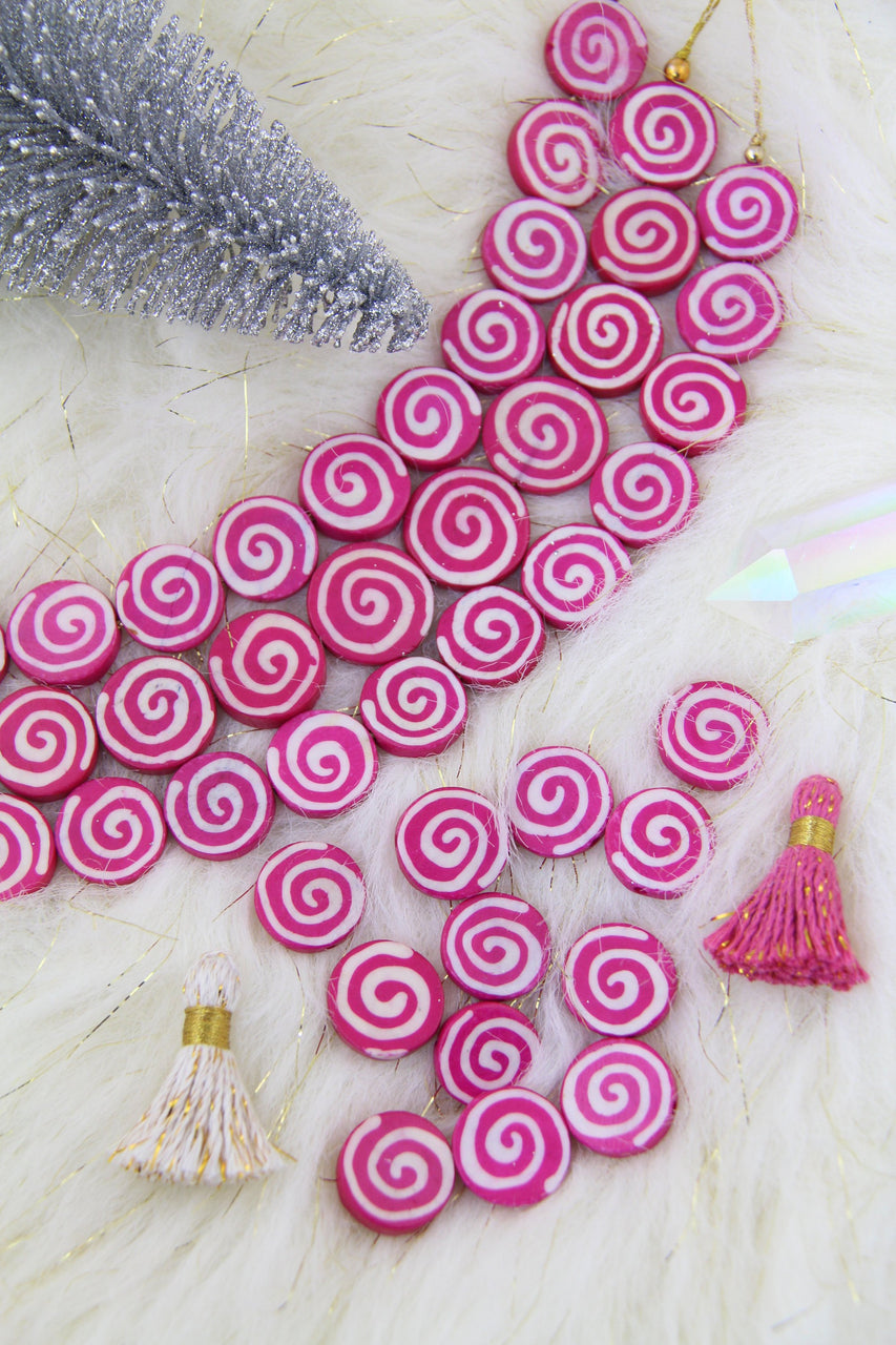Pink Spiral Coin Bone Beads, 19x4mm, Jewelry Making Supplies, 12 pcs