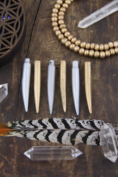 "Metallic Dagger Pendant: 2.5"" Bone Beads, Gold or Silver Bohemian Jewelry Making Supplies, 1 piece"