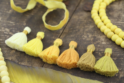 Gen Z Yellow Tassel Mix: Mini Cotton Tassels with Gold Binding, 6 pieces Fringed Charm Pendants