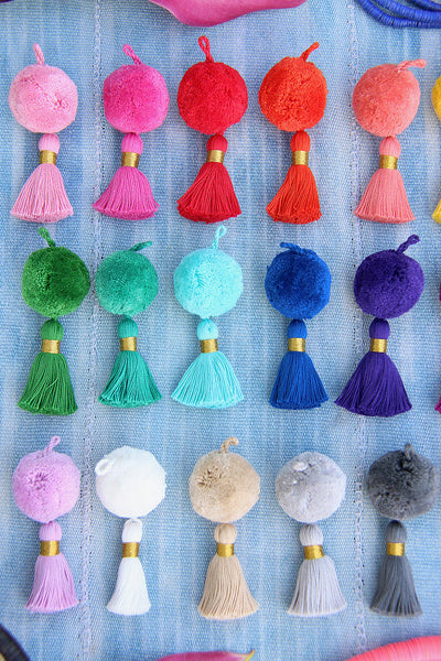 Pom-Tassel Charms, Handmade Pom Pom Tassels for Earring/Necklace