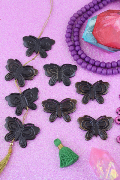 Brown Butterfly Beads: Carved Bone Focal Pendant, 44x31mm, 4 pcs
