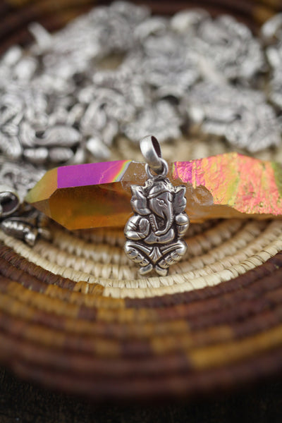 Sterling Silver Ganesha Charm: 10x16mm Necklace Pendant, 1 piece