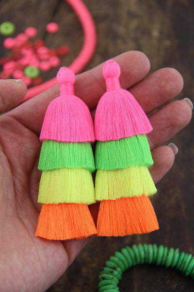 "NEON Tiered Tassels, 3"" Handmade Cotton Fringe for Jewelry, 1 piece"