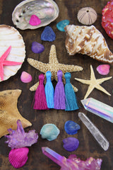 "Mermaid Mix Summer Colors 2"" Inch Silky Tassels, Jewelry Making Supply"
