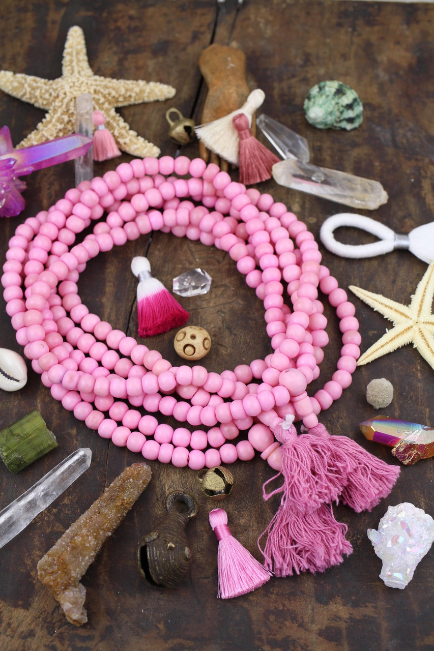 Bubblegum Pink Bone Mala Beads, Yoga Jewelry Making Supply