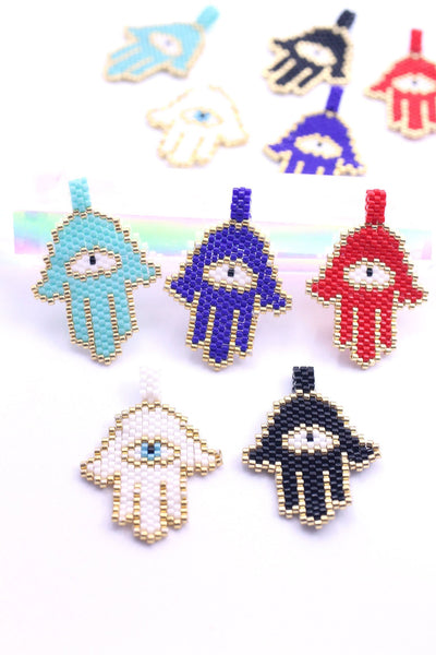 Hamsa Hand Pendants, Miyuki Seed Beads, Intentional Jewelry Making Supplies, Evil Eye
