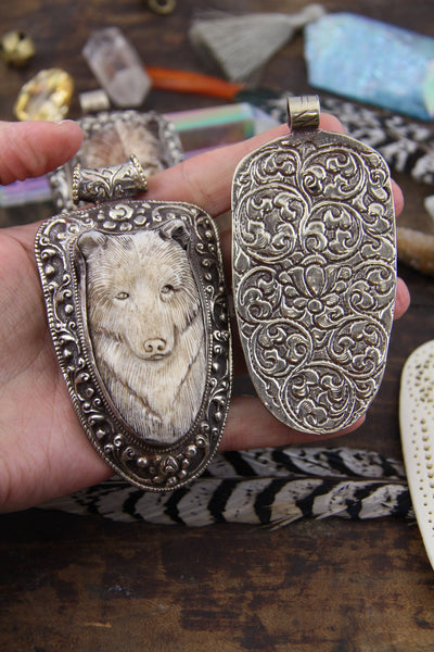 "Bear in Bone: Nepali Silver Bezel Set, Carved Boho Pendant, 4"" - ShopWomanShopsWorld.com. Bone Beads, Tassels, Pom Poms, African Beads."